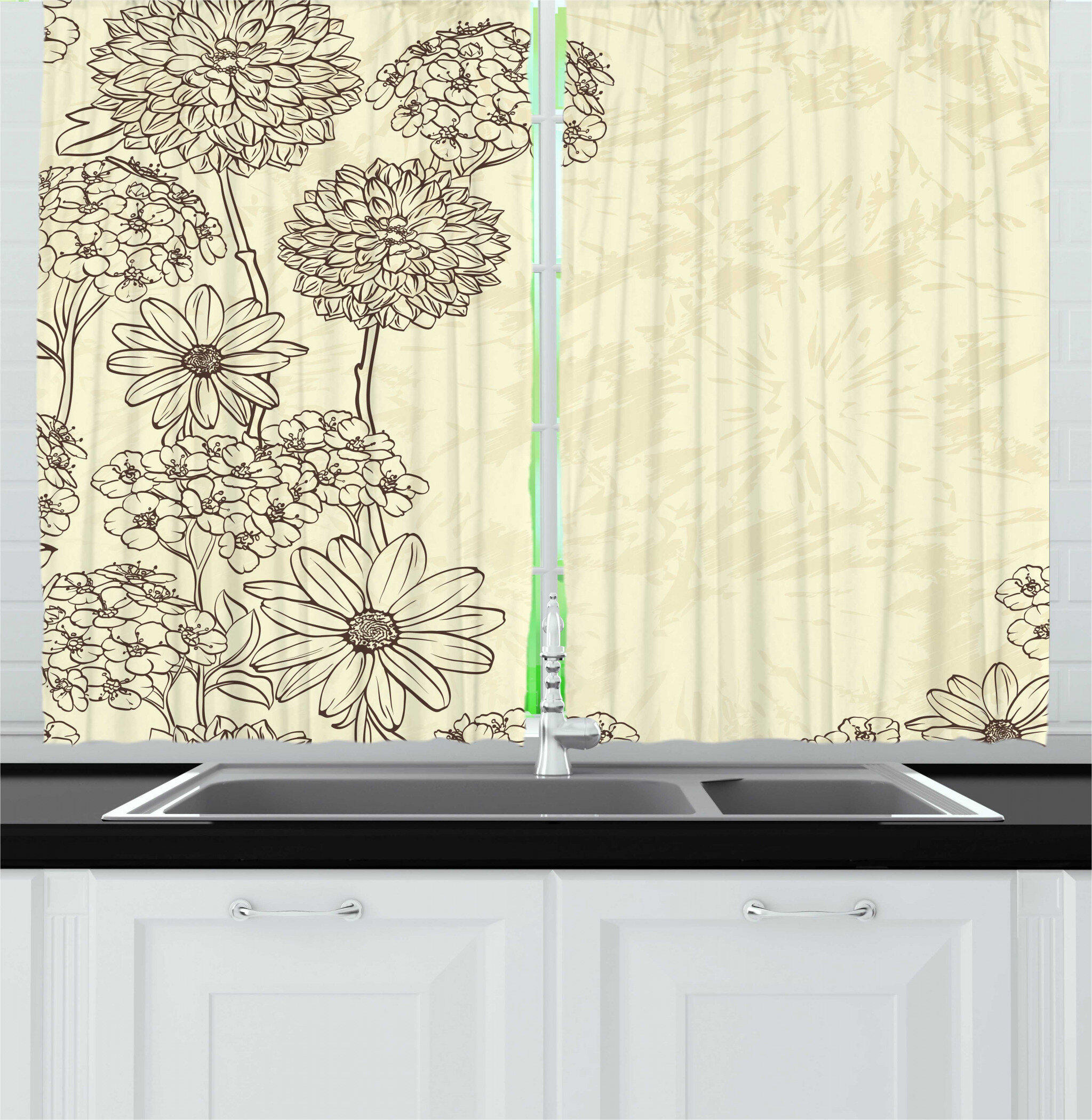 East Urban Home 2 Piece Floral Vintage Blooming Plantation Drawn By Hand In Retro Style Kitchen Curtain Set Wayfair