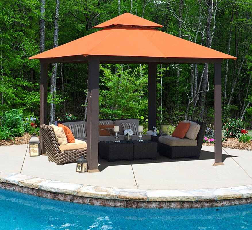 Savannah 10 Ft. W x 10 Ft. D Metal Permanent Gazebo & Paragon-Outdoor Savannah 10 Ft. W x 10 Ft. D Metal Permanent ...