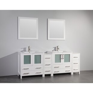 Karson 84 Double Bathroom Vanity Set with Mirror by Wade Logan