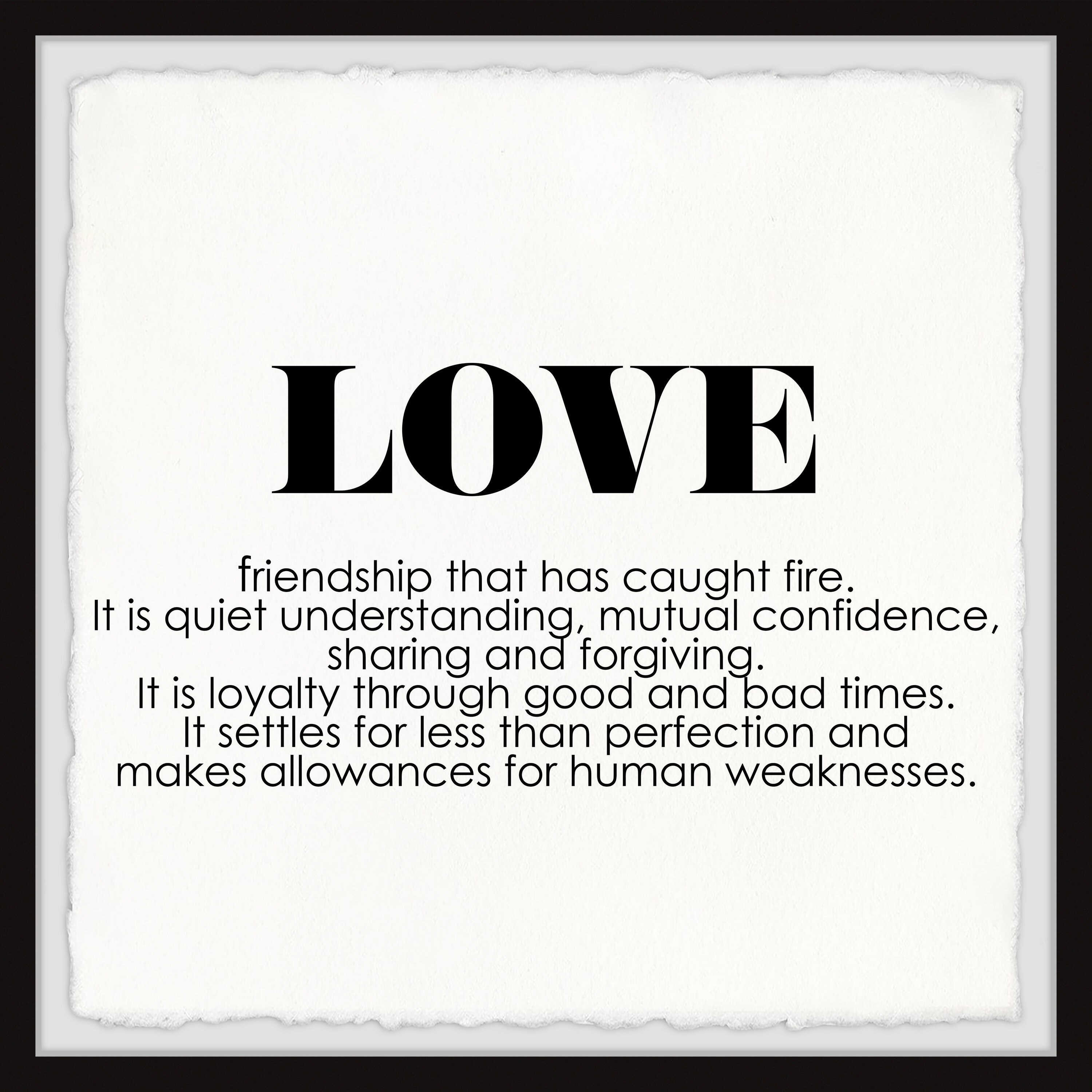 Ebern Designs Love Is By Marmont Hill Picture Frame Textual Art Print On Paper Wayfair