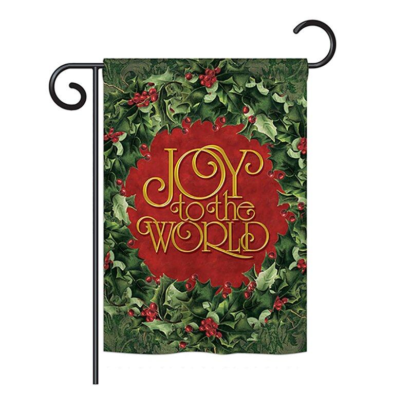 Breeze Decor Joy To The World Wreath Winter Seasonal Wonderland Impressions 2 Sided 19 X 13 In Garden Flag Wayfair