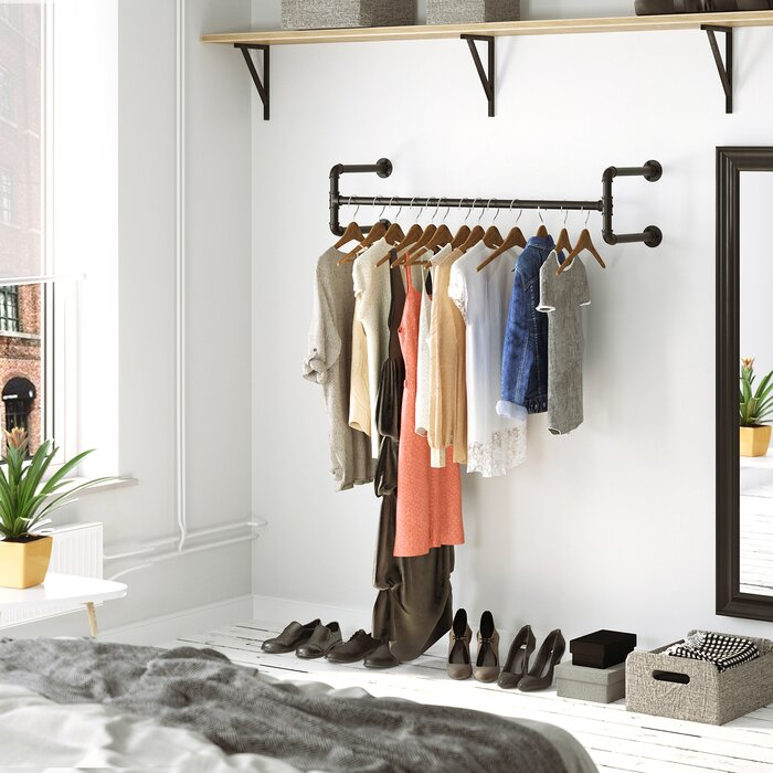 Holms 43.3 Inch W Wall-Mounted Clothes Rack