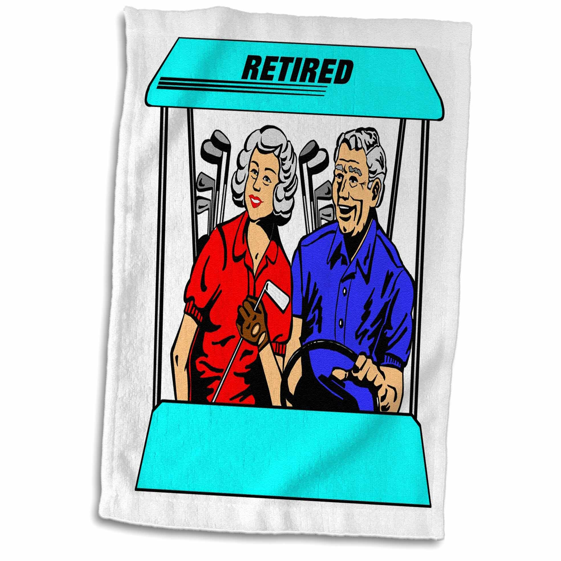 Symple Stuff Kight Cute Cartoon Couple In Golf Cart And Word Retired Hand Towel Wayfair