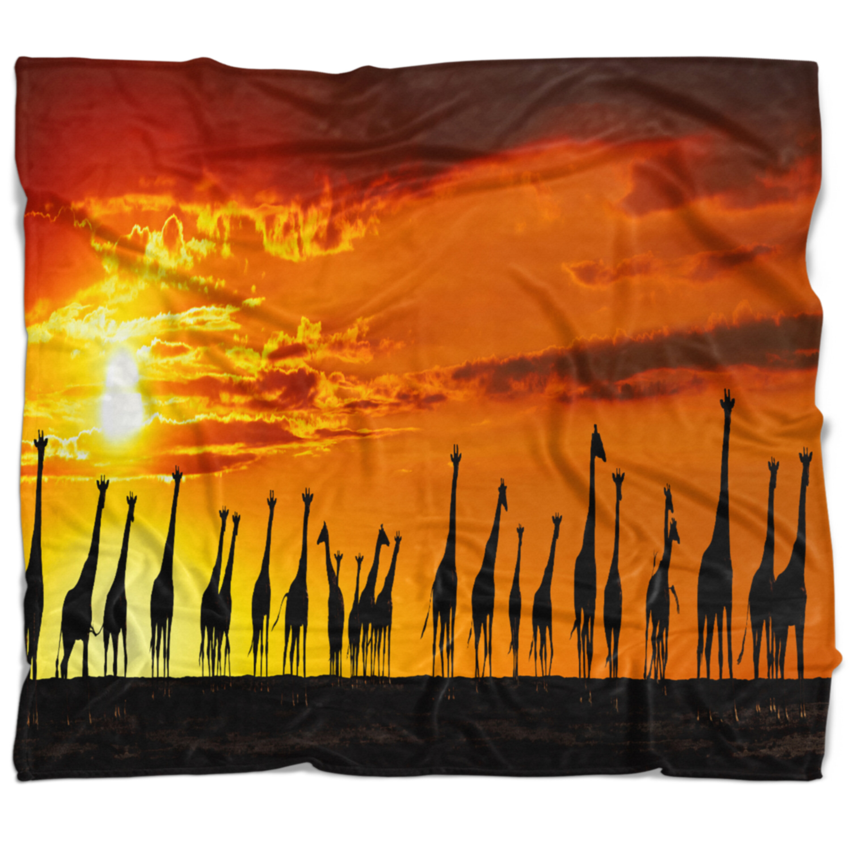 East Urban Home African Giraffes Sunset Silhouette Blanket Wayfair Ca