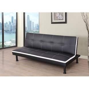 Goldie Faux Leather Convertible Sofa by Ebern Designs No Copoun
