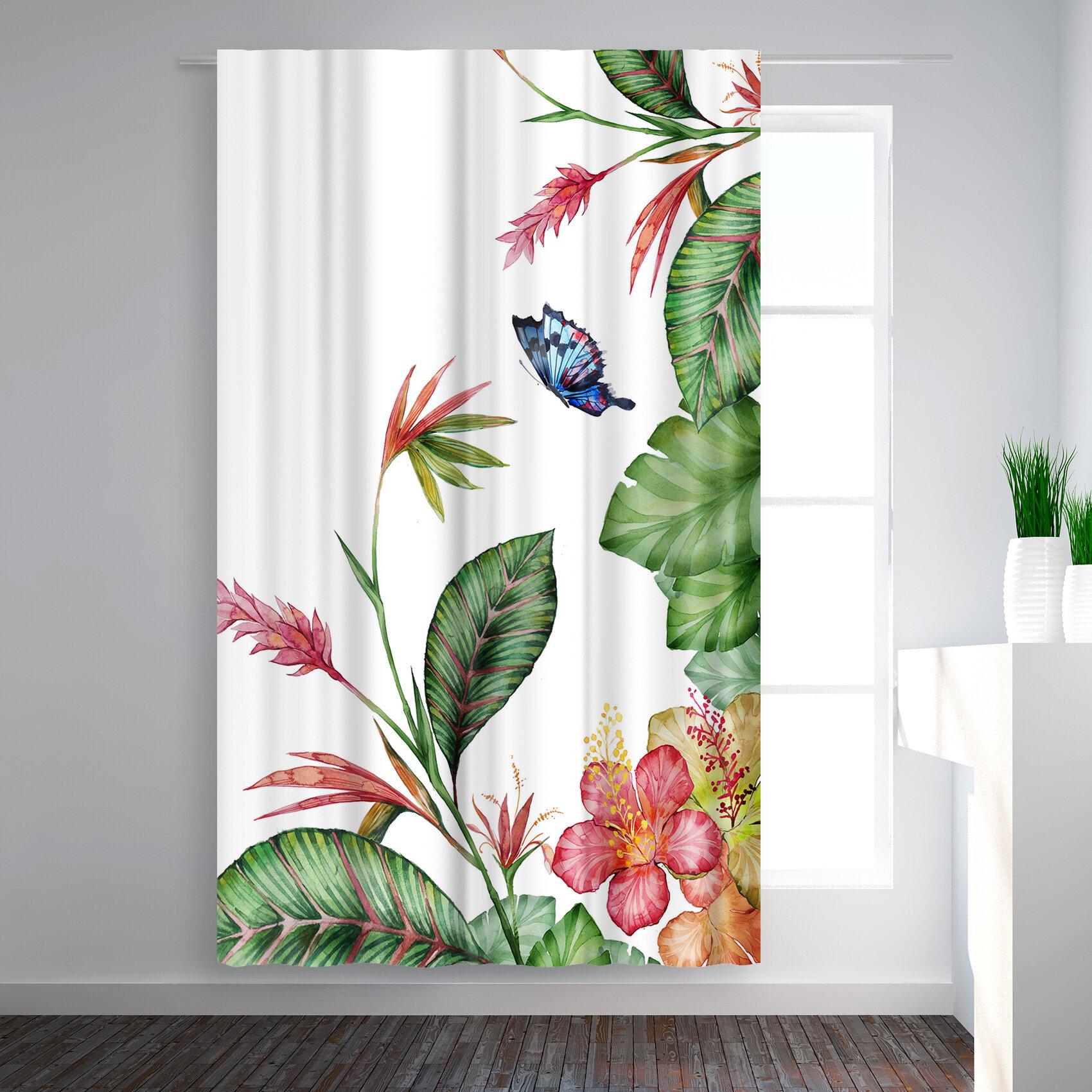 East Urban Home Victoria Nelson Tropical Floral Blackout Rod Pocket Single Curtain Panel Wayfair
