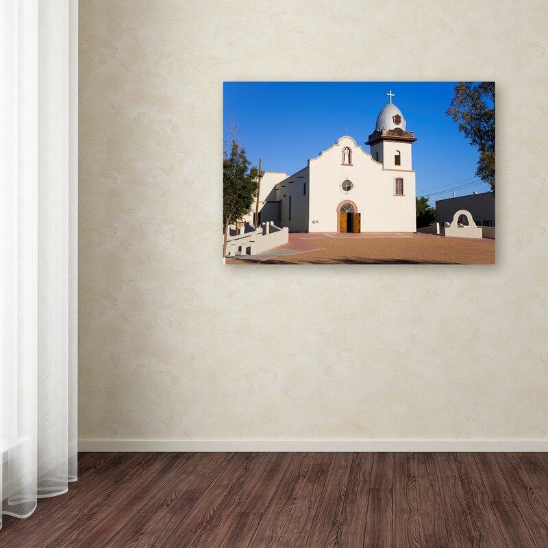 Trademark Art White Church Photographic Print On Wrapped Canvas Wayfair