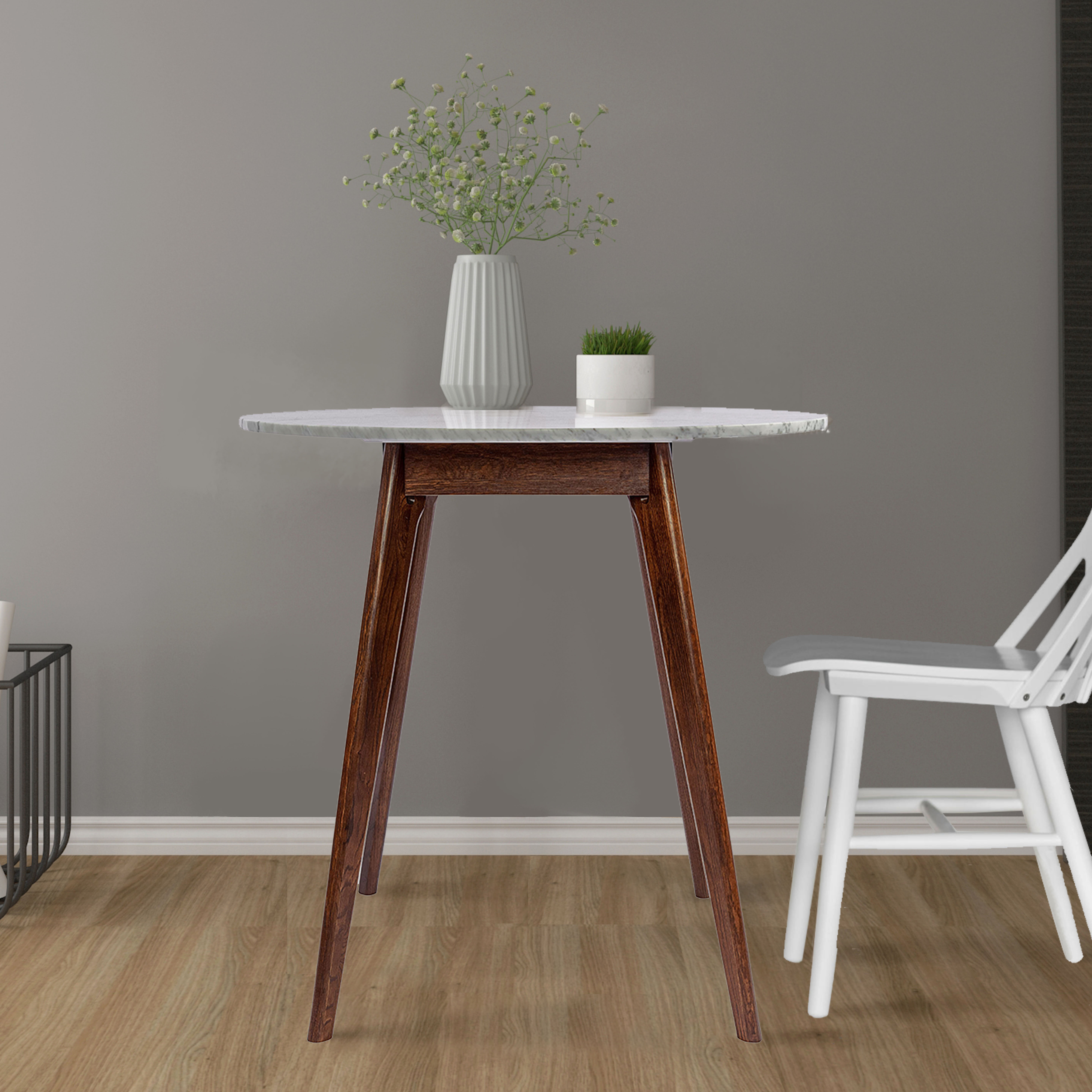 Picture of: Joss Main Gussie Round Italian Carrara Bar Height Solid Wood Dining Table Reviews Wayfair