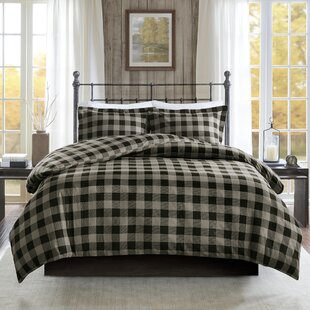 Flannel Check Print Cotton Duvet Cover Set