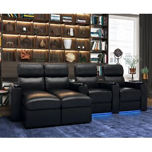 Modern Leather Home Theater Sofa (Row of 4) Red Barrel Studio