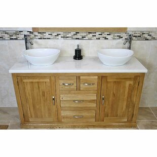 Degraw Solid Oak 1430mm Free-Standing Vanity Unit By Belfry Bathroom