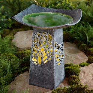 Wind & Weather Hand Glazed Bowl Lighted Birdbath