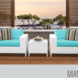 Miami 3 Piece Conversation Set with Cushions