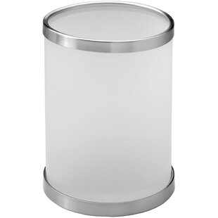 AGM Home Store Addition Frosted Round Top Glass/Brass Open Waste Basket