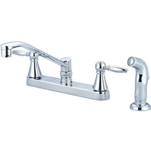 Central Brass Double Handle Centerset Kitchen Faucet with Side Spray