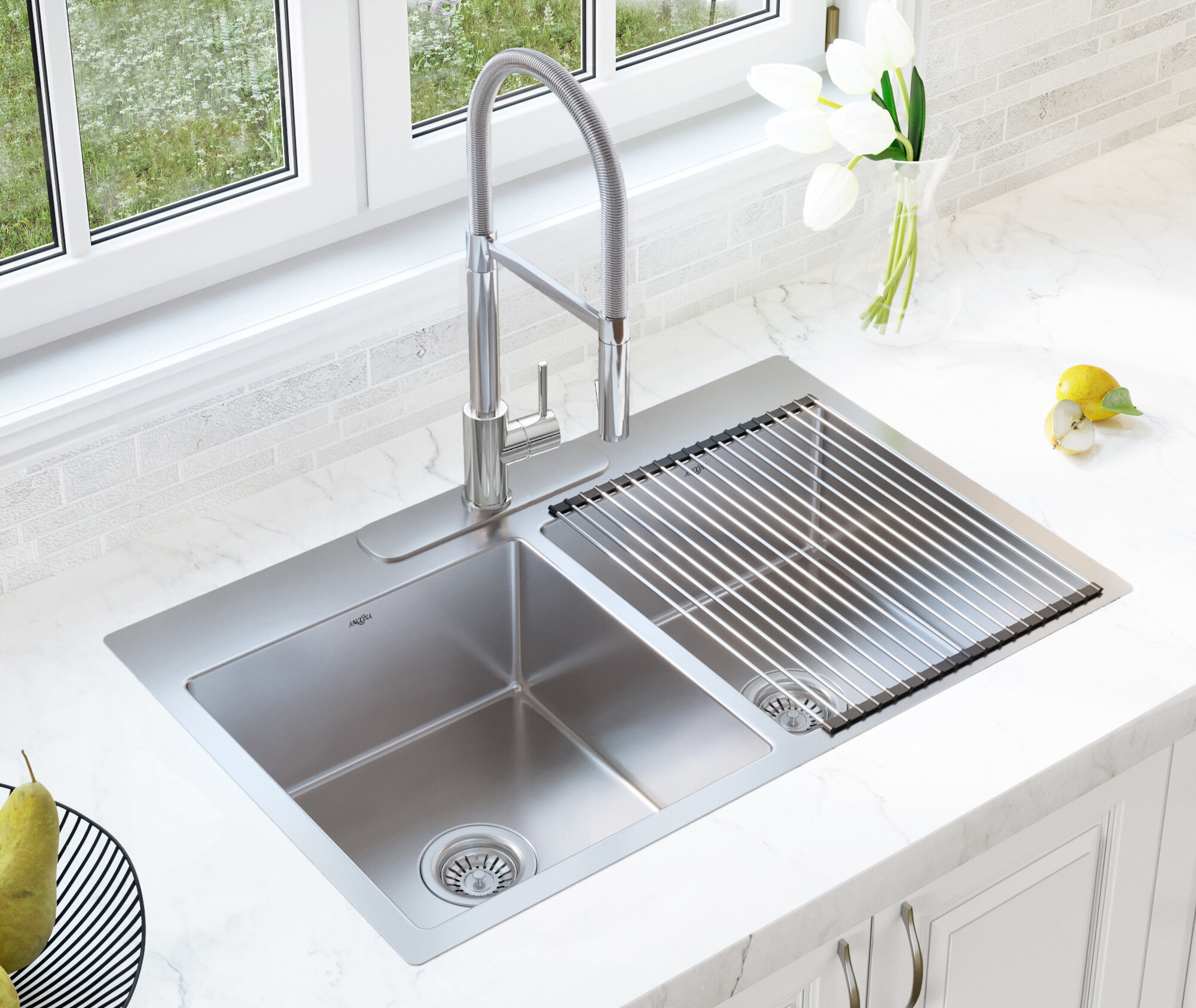 "Single Handle Faucet Combo 12"" L x 12"" W Double Basin Dual Mount Kitchen  Sink with Faucet and Basket Strainer"