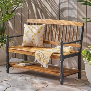 Maidste Outdoor Acacia Wood Bench by Charlton Home #1