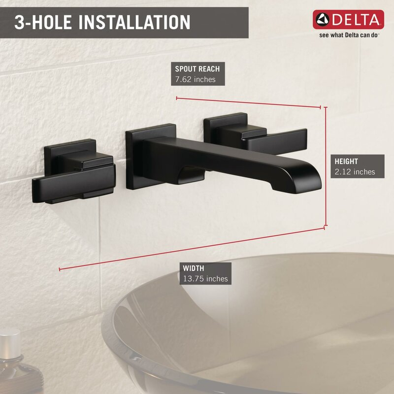 Delta Ara Two Handle Wall-Mount Lavatory Faucet & Reviews | Wayfair