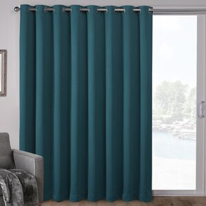 Campanella Sateen Blackout Solid Grommet Top Wide Patio Curtain Panel
