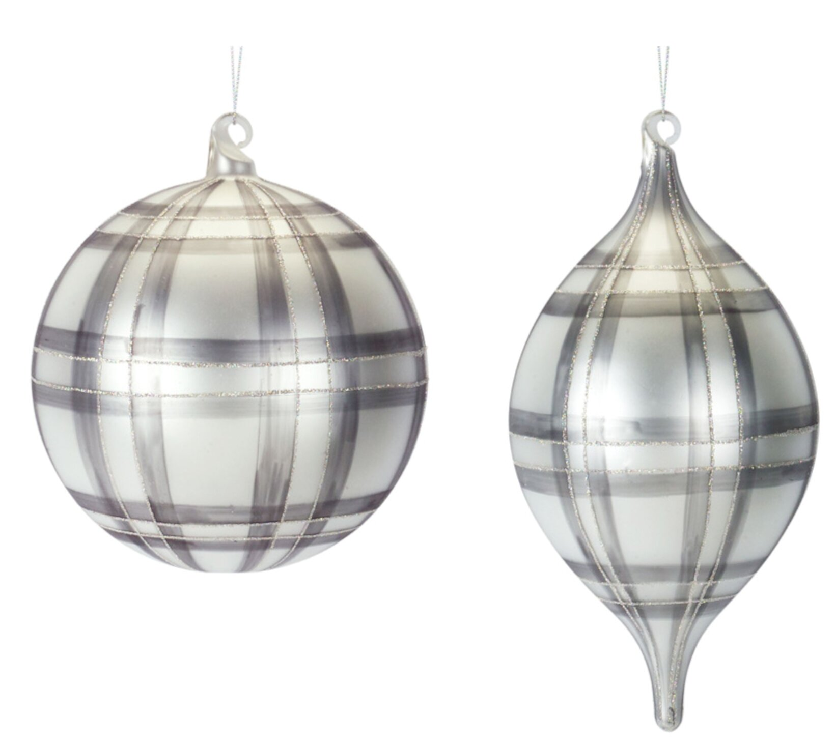 The Holiday Aisle Plaid Ornament Set Of 6 7 H 9 75 H Glass Wayfair