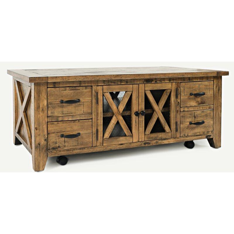Loon Peak Thame Solid Wood Coffee Table With Storage Reviews Wayfair