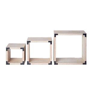 Gracie Oaks Munson Light Wood Square Cube..