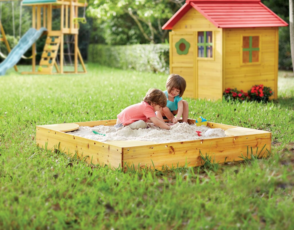 Backyard 5u0027 Square Sandbox With Cover   KidKraft Backyard 5u0027 Square Sandbox  With Cover