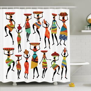 Jodie Tribal Women Figures Shower Curtain