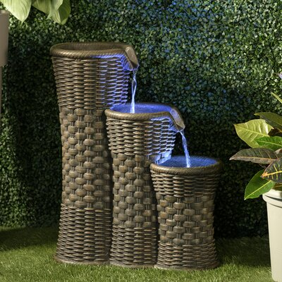 Image of 2 Piece Resin Everwoven Outdoor Fountain Set with Light Alfresco Home