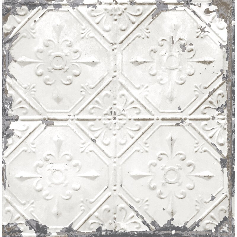 Tin Ceiling Distressed 33 X 20 5 Geometric Tile Wallpaper