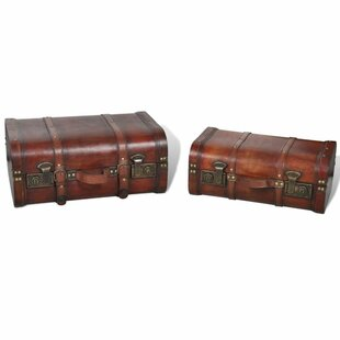 Alvares 2 Piece Vintage Wooden Treasure Chest Set By Bloomsbury Market