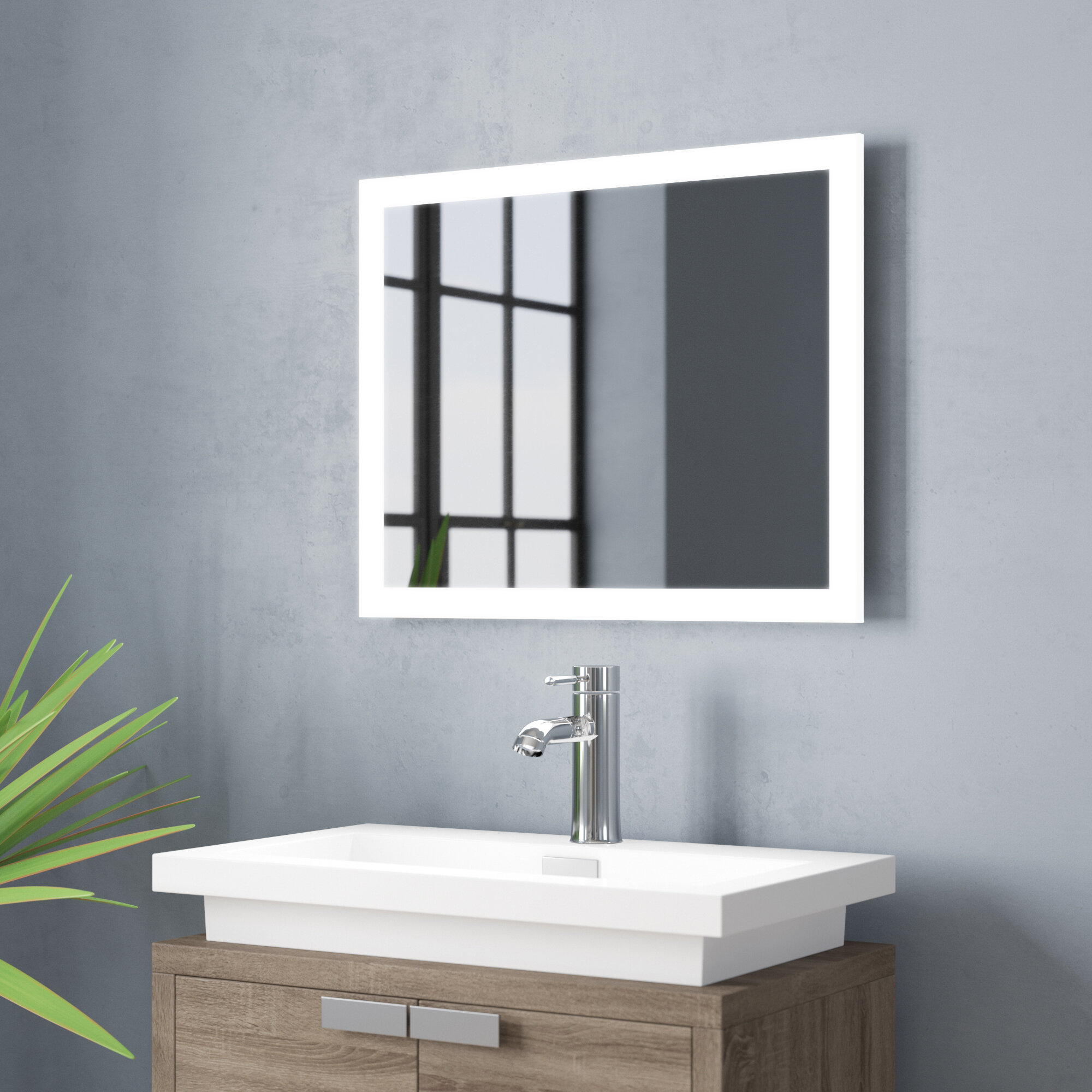 Quillen Modern & Contemporary Lighted Bathroom/Vanity Mirror