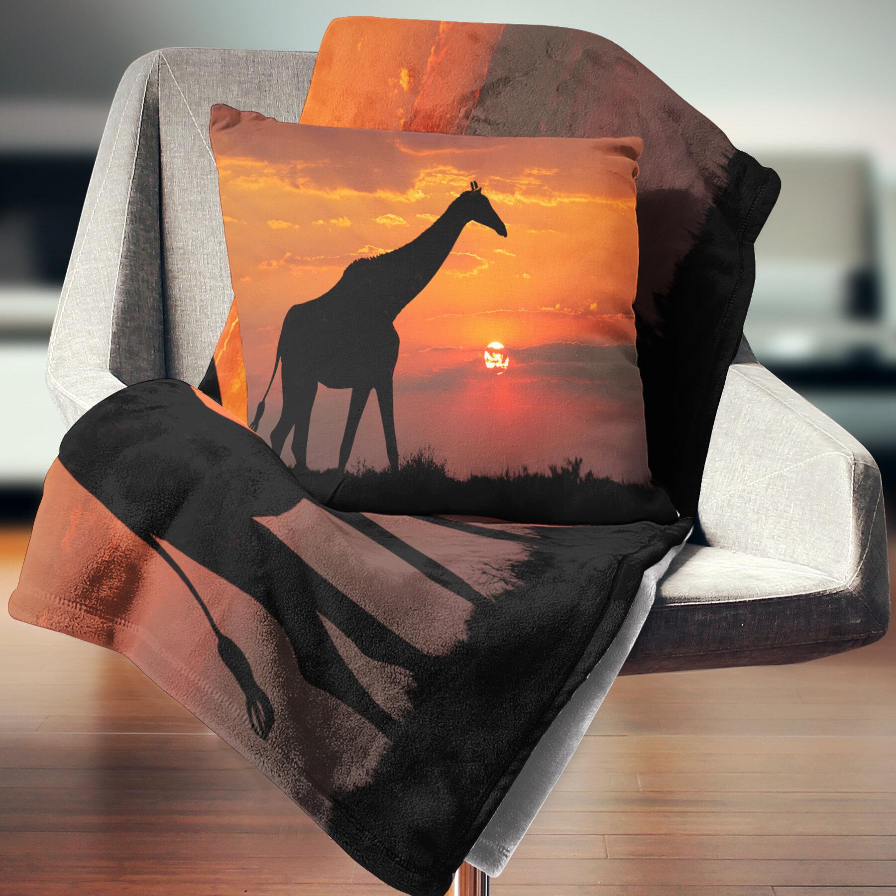 East Urban Home African Giraffe Silhouette At Sunset Throw Pillow Wayfair