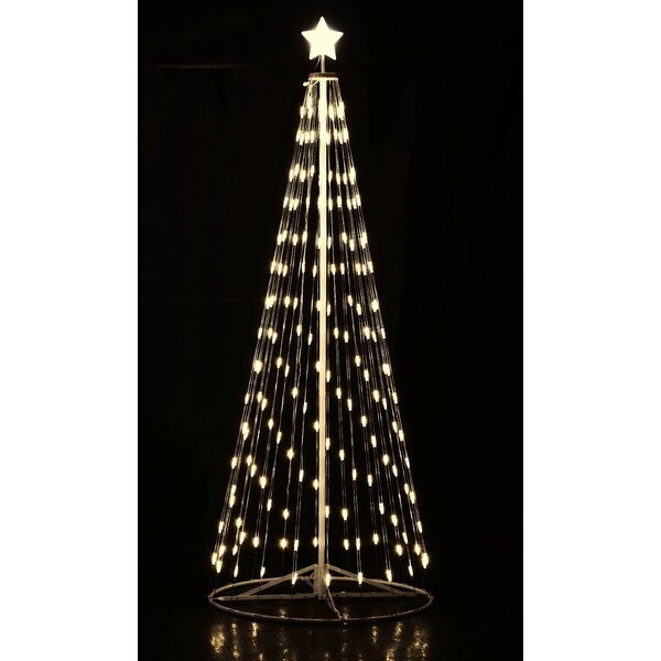 Collapsible Christmas Tree.White Led Cone Tree With Collapsible Base Lighted Display