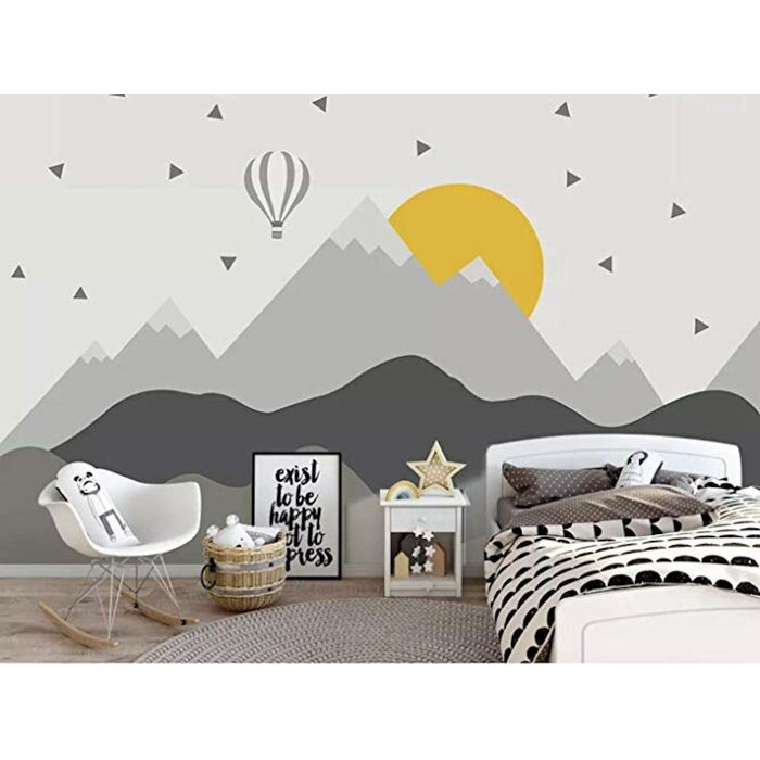 Marci Hot Air Balloon Kids Mountain Textile Texture Wall Mural