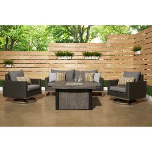 Minor Motion 4 Piece Rattan Sunbrella Sofa Set with Cushions