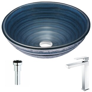 ANZZI Tempo Glass Circular Vessel Bathroom Sink with Faucet