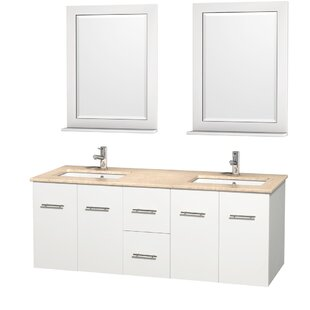 Centra 60 Double White Bathroom Vanity Set with Mirror