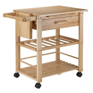 Finland Kitchen Cart with Wooden Top Winsome