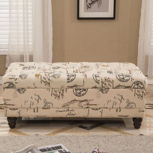 French Writing Postmark Print Tufted Wood Storage Bench by Bellasario Collection