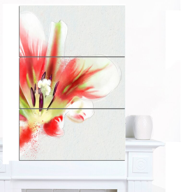 Designart Large Watercolor Red Tulip Flower 3 Piece Wall Art On