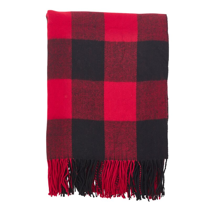 Farmersville Plaid Check Design Tassel Trim Throw. Holiday decor inspiration with plaid, checks, and tartans! Come be inspired by this classic pattern for Christmas decorating. #plaid #christmasdecor #holidayinspiration #checks #decorating #inspiration