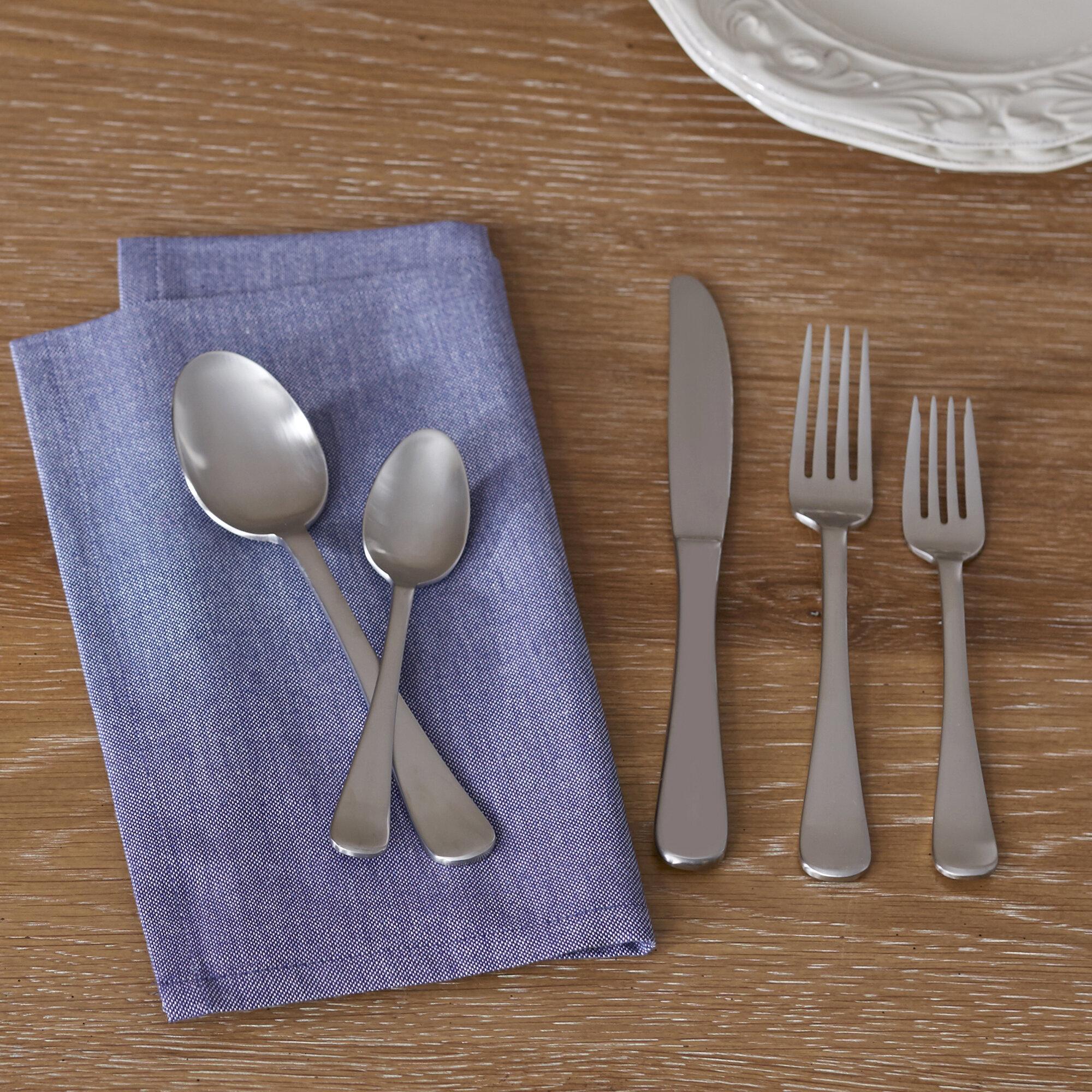 Charlton Home Adalynn 20 Piece 18 10 Stainless Steel Flatware Set Service For 4 Reviews Wayfair