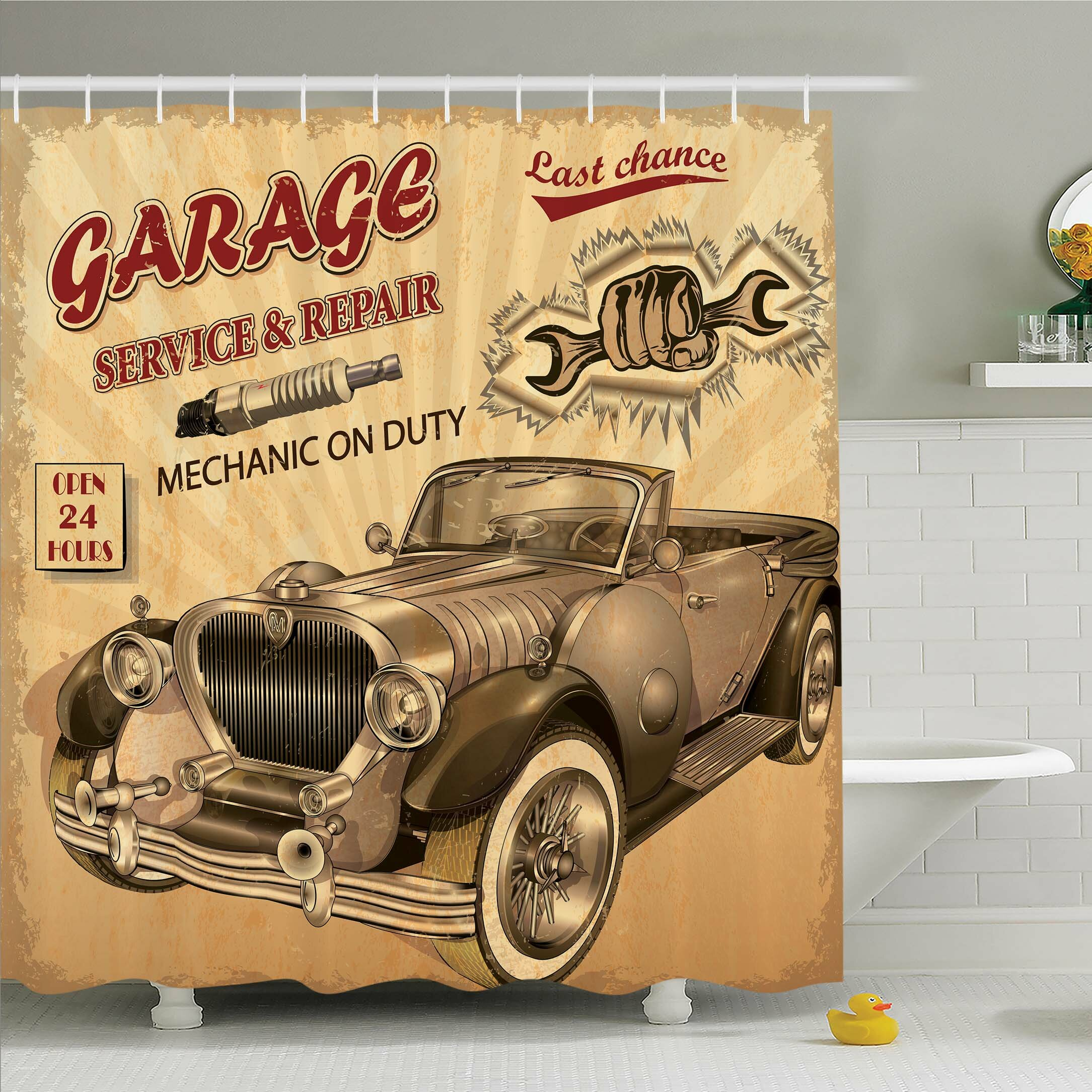 Ambesonne Vintage Nostalgic Car Figure With Garage Service And Repair Store Phrase Dated Faded Shower Curtain Set