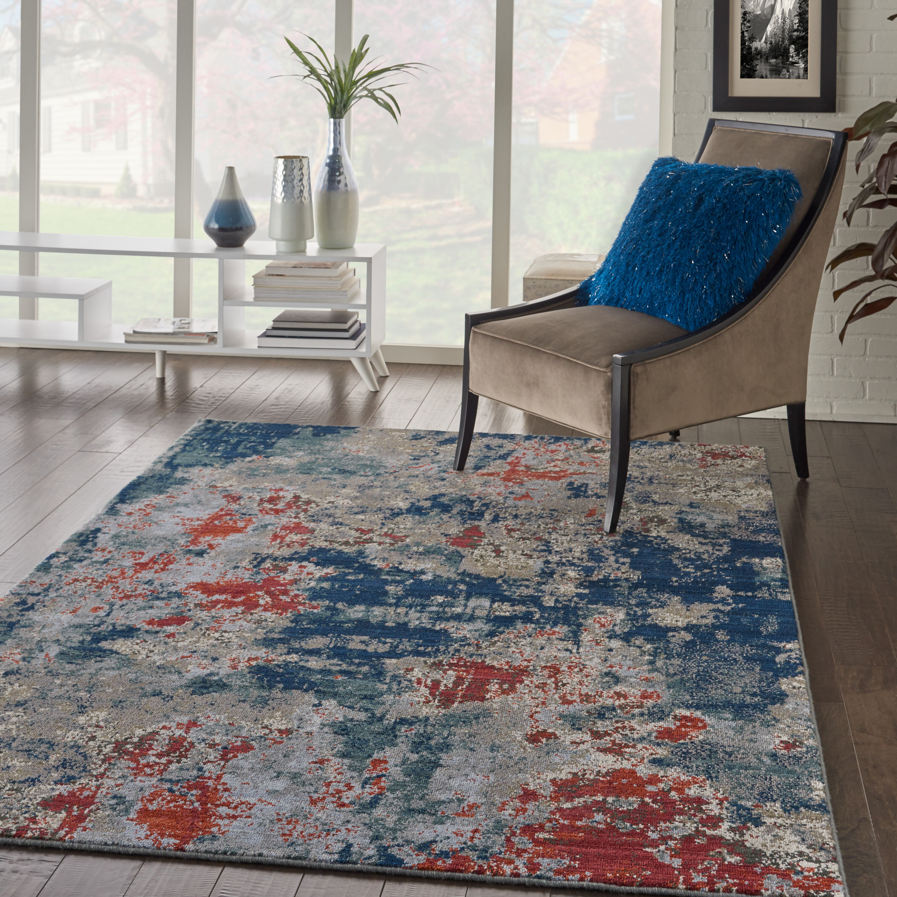 Williston Forge Toomey Abstract Blue Red Beige Area Rug Wayfair Ca