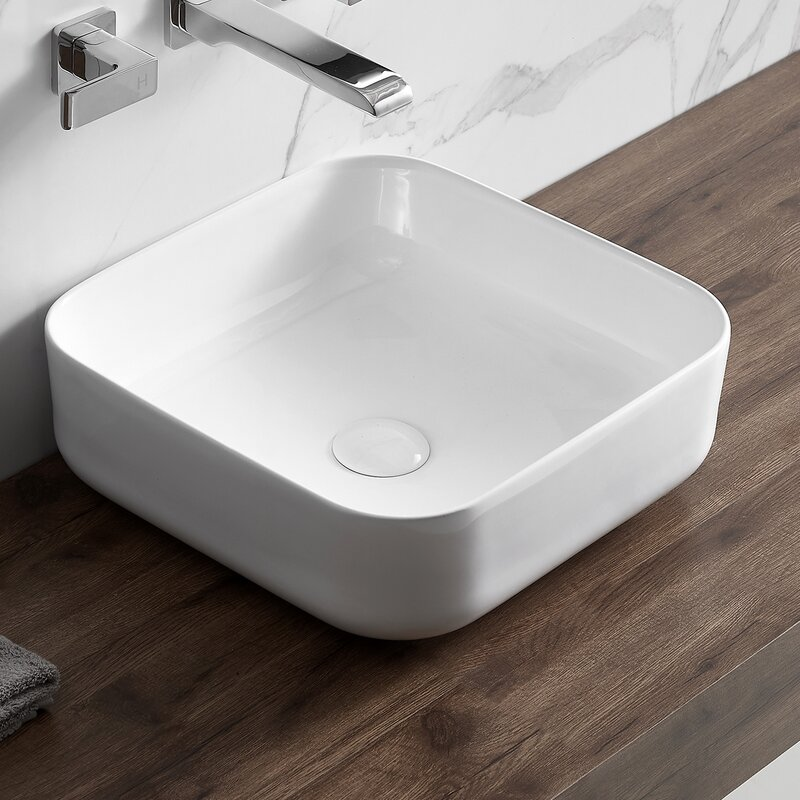 Eridanus White Ceramic Square Vessel Bathroom Sink Wayfair
