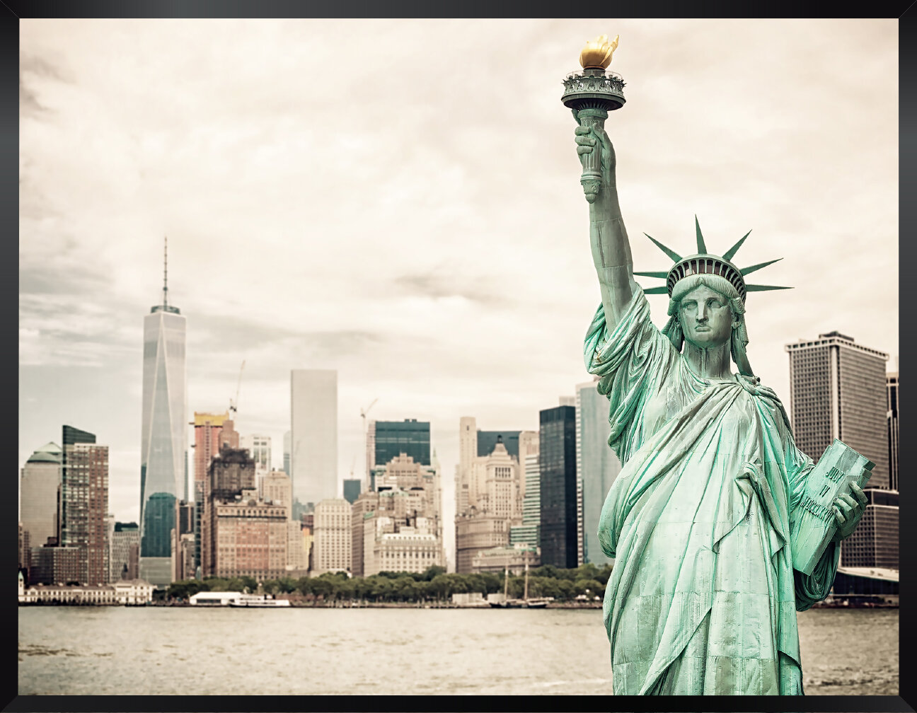 New York Statue of Liberty 3 Panel Canvas Print Large Picture Wall Art no.47
