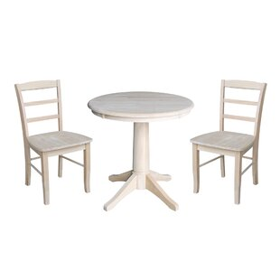 Scettrini 3 Piece Solid Wood Dining Set Rosalind Wheeler