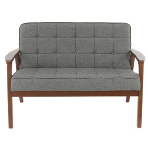 George Oliver Vecchio Wood and Fabric Tufted Cushioned Loveseat