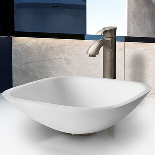 Look for Phoenix Glass Square Vessel Bathroom Sink with Faucet By VIGO